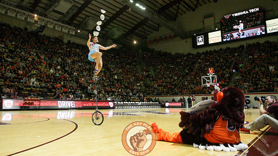 The Hokiebird watches Red Panda perform at halftime. (Mark Umansky/TheKeyPlay.com)