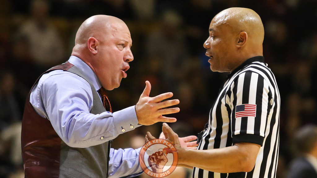 Buzz Williams speaks with a referee during a break in the action. (Mark Umansky/TheKeyPlay.com)