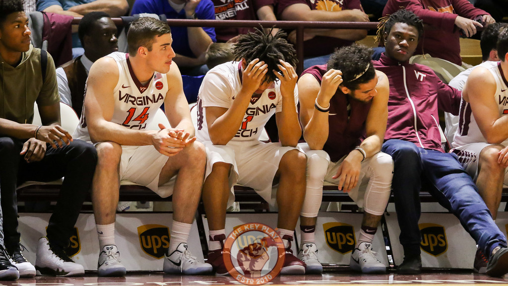 The Virginia Tech bench reacts to Wake Forest increasing their lead in the second half. (Mark Umansky/TheKeyPlay.com)