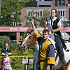 The 16th Annual Fitchburg Blacksmith Art and Renaissance Festival was held Saturday, Sept. 29, 2019 at Riverfront Park in Fitchburg. Cristian Lett of New Salem with the Iron Clad Jousting playing Sr. Cristoffe Von Stuben holds a ring for Squire Aurianna Lett so she could show off her skills with a joust during their performance at the festival. SENTINEL & ENTERPRISE/JOHN LOVE