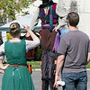 """The 16th Annual Fitchburg Blacksmith Art and Renaissance Festival was held Saturday, Sept. 29, 2019 at Riverfront Park in Fitchburg. Reily Mumpton with The Longshanks"""" from Brattle Vermont chats with festival goers as he walked around on his stilts. SENTINEL & ENTERPRISE/JOHN LOVE"""