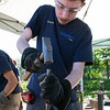 The 16th Annual Fitchburg Blacksmith Art and Renaissance Festival was held Saturday, Sept. 29, 2019 at Riverfront Park in Fitchburg. Assabet Valley Regional Technical High School senior Dustin Hart work on a piece as he participated in the event on Saturday. SENTINEL & ENTERPRISE/JOHN LOVE