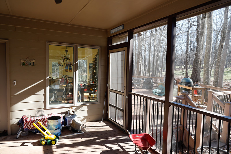 Porch windows looking into Dining Room and Living area