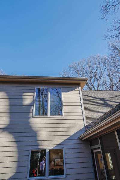 Porch gutter and door