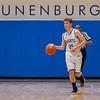 Lunenburg's Tristan Deschenes brings the ball upcourt against Hudson. SENTINEL&ENTERPRISE/ Jim Marabello