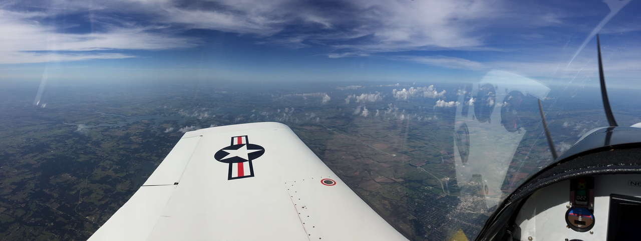 17.5K.  Facing SE.  Gainesville, TX at wing root and Lake Ray Roberts on wingtip.