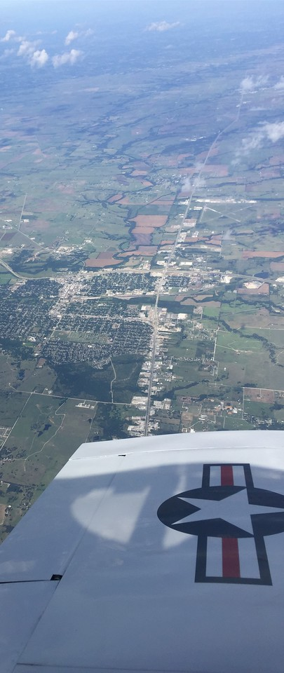 Facing west.  City of Gainesville, TX.  Airport in distance.