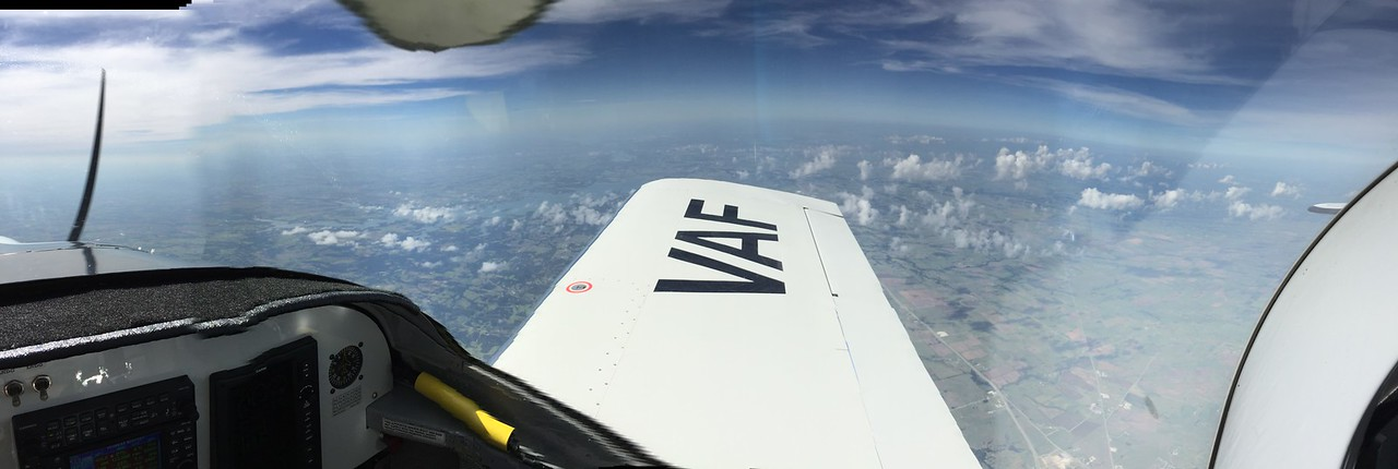 Facing south.  Lake Lewisville off right wingtip.