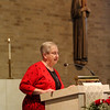 C.PP.S. Sister Elaine Becker proclaims the Scripture readings and general intercessions.