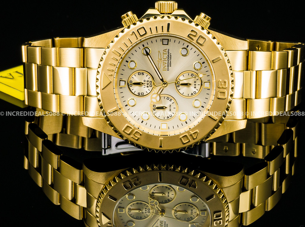 3f2036ae40d Details about Invicta Men Pro Diver Chronograph 18k Gold Plated Champagne  Dial 43mm Watch 1774