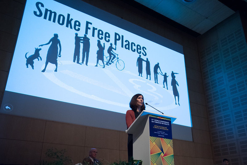 17th World Conference on Tobacco or Health (WCTOH), Cape Town, South Africa, organised by the International Union Against Tuberculosis and Lung Disease.<br /> <br /> Photo shows: Launch of the Tobacco Atlas, 6th edition & Luther Terry Awards. Speaker: Jacqui Drope<br /> <br /> Photo©Marcus Rose/The Union