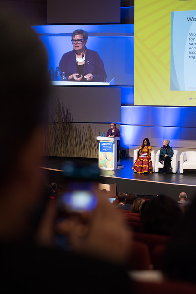 17th World Conference on Tobacco or Health (WCTOH), Cape Town, South Africa, organised by the International Union Against Tuberculosis and Lung Disease.<br /> <br /> Photo shows: Plenary 2 - Women, Development, and Tobacco Control.<br /> L-R: Speaker, Dr Lorraine Greaves, British Columbia Centre of Excellence for Women's Health (Canada). Chair: Flavia Senkubuge, South Africa. Dr Judith Mackay, Senior Advisor, Vital Strategies (Hong Kong). <br /> <br /> Photo©Marcus Rose/The Union