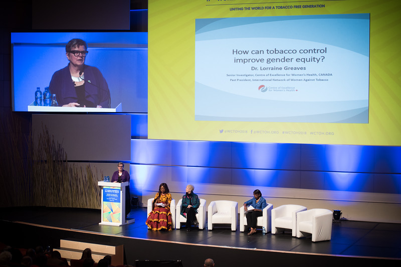 17th World Conference on Tobacco or Health (WCTOH), Cape Town, South Africa, organised by the International Union Against Tuberculosis and Lung Disease.<br /> <br /> Photo shows: Plenary 2 - Women, Development, and Tobacco Control.<br /> L-R: Speaker, Dr Lorraine Greaves, British Columbia Centre of Excellence for Women's Health (Canada). Chair: Flavia Senkubuge, South Africa. Dr Judith Mackay, Senior Advisor, Vital Strategies (Hong Kong). Dr Matshidiso Moeti, WHO Regional Director for Africa (Republic of Congo).<br /> <br /> Photo©Marcus Rose/The Union