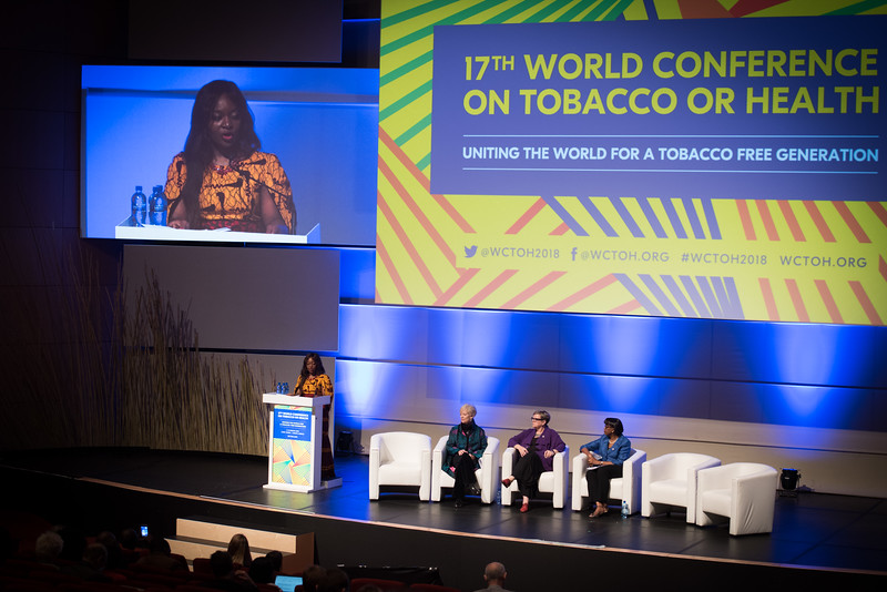 17th World Conference on Tobacco or Health (WCTOH), Cape Town, South Africa, organised by the International Union Against Tuberculosis and Lung Disease.<br /> <br /> Photo shows: Plenary 2 - Women, Development, and Tobacco Control.<br /> L-R: Speaker, Chair: Flavia Senkubuge, South Africa. Dr Judith Mackay, Senior Advisor, Vital Strategies (Hong Kong). Dr Lorraine Greaves, British Columbia Centre of Excellence for Women's Health (Canada). Dr Matshidiso Moeti, WHO Regional Director for Africa (Republic of Congo).<br /> <br /> Photo©Marcus Rose/The Union
