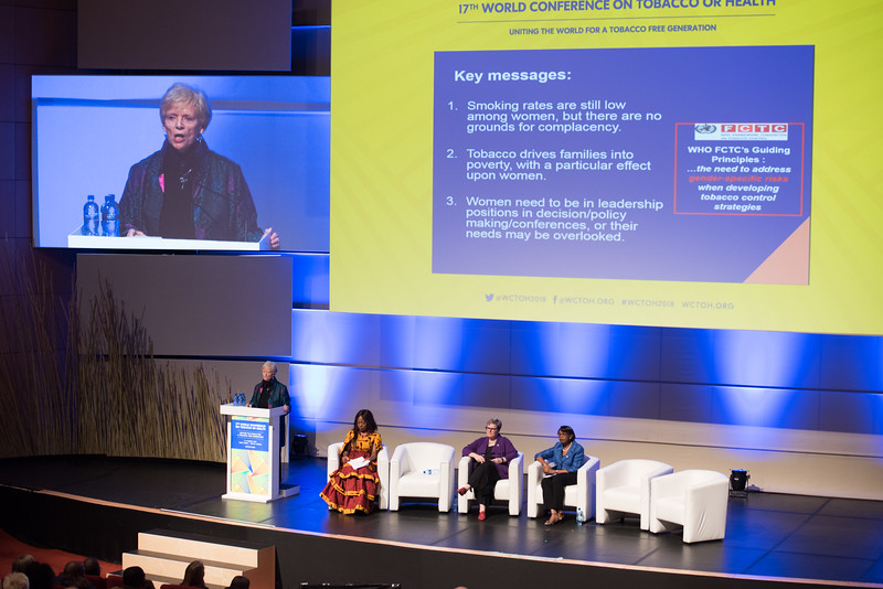 17th World Conference on Tobacco or Health (WCTOH), Cape Town, South Africa, organised by the International Union Against Tuberculosis and Lung Disease.<br /> <br /> Photo shows: Plenary 2 - Women, Development, and Tobacco Control.<br /> L-R: Speaker, Dr Judith Mackay, Senior Advisor, Vital Strategies (Hong Kong). Chair: Flavia Senkubuge, South Africa. Dr Lorraine Greaves, British Columbia Centre of Excellence for Women's Health (Canada). Dr Matshidiso Moeti, WHO Regional Director for Africa (Republic of Congo).<br /> <br /> Photo©Marcus Rose/The Union