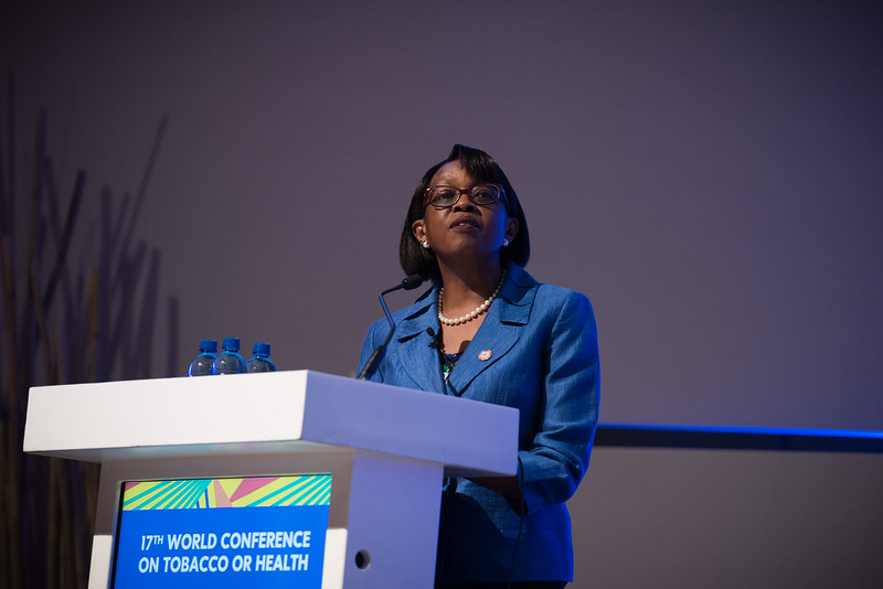 17th World Conference on Tobacco or Health (WCTOH), Cape Town, South Africa, organised by the International Union Against Tuberculosis and Lung Disease.<br /> <br /> Photo shows: Plenary 2 - Women, Development, and Tobacco Control.<br /> Dr Matshidiso Moeti, WHO Regional Director for Africa (Republic of Congo).<br /> <br /> <br /> Photo©Marcus Rose/The Union