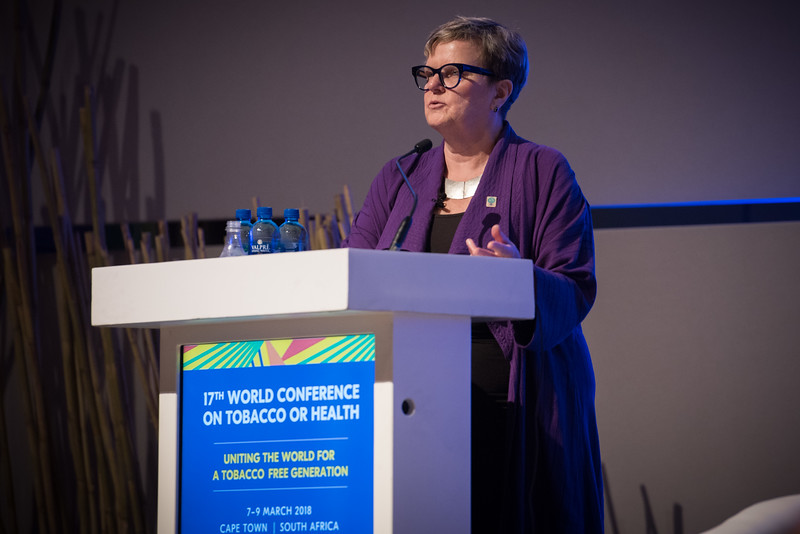 17th World Conference on Tobacco or Health (WCTOH), Cape Town, South Africa, organised by the International Union Against Tuberculosis and Lung Disease.<br /> <br /> Photo shows: Plenary 2 - Women, Development, and Tobacco Control.<br /> L-R: Speaker, Dr Lorraine Greaves, British Columbia Centre of Excellence for Women's Health (Canada).<br /> <br /> Photo©Marcus Rose/The Union