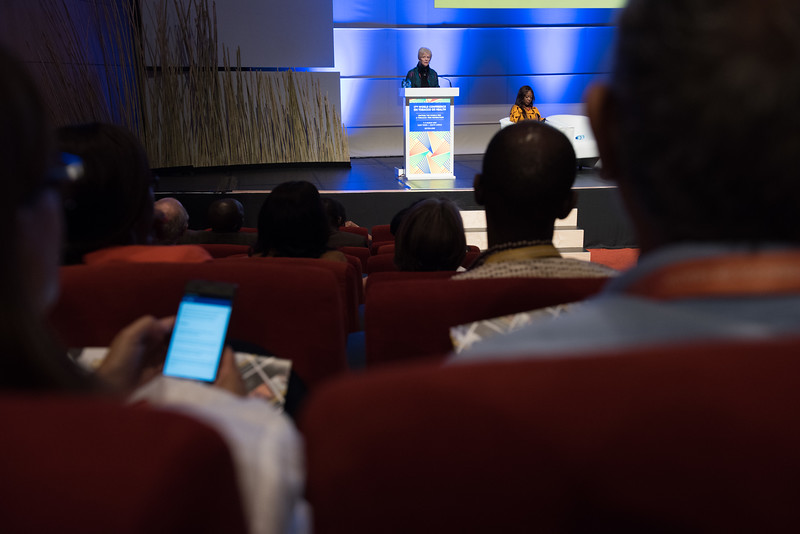 17th World Conference on Tobacco or Health (WCTOH), Cape Town, South Africa, organised by the International Union Against Tuberculosis and Lung Disease.<br /> <br /> Photo shows: Plenary 2 - Women, Development, and Tobacco Control.<br /> L-R: Speaker, Dr Judith Mackay, Senior Advisor, Vital Strategies (Hong Kong). Chair: Flavia Senkubuge, South Africa. <br /> <br /> Photo©Marcus Rose/The Union