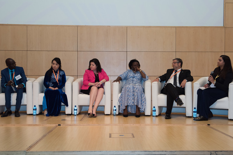 17th World Conference on Tobacco or Health (WCTOH), Cape Town, South Africa, organised by the International Union Against Tuberculosis and Lung Disease.<br /> <br /> Photo shows: Ministerial Forum. L-R: Hon Mbagnick Ndiaye, MoH Senegal. Hon Nguyen Thi Kim Tien, MoH, Viet Nam. Dr Svetlana Akselrod ADG, WHO. Hon Sarah Opendi Achieng, MoH Uganda. Hon Adolfo Rubinstein, MoH Argentina. Serusha Govender.<br /> <br /> <br /> Photo©Marcus Rose/The Union