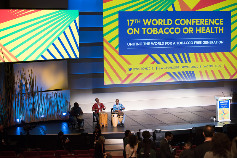 17th World Conference on Tobacco or Health (WCTOH), Cape Town, South Africa, organised by the International Union Against Tuberculosis and Lung Disease.<br /> <br /> Photo shows: Plenary 1: Priorities for Tomorrow's Tobacco Control Agenda and Sustainable Development. Musical Performance<br /> <br /> Photo©Marcus Rose/The Union