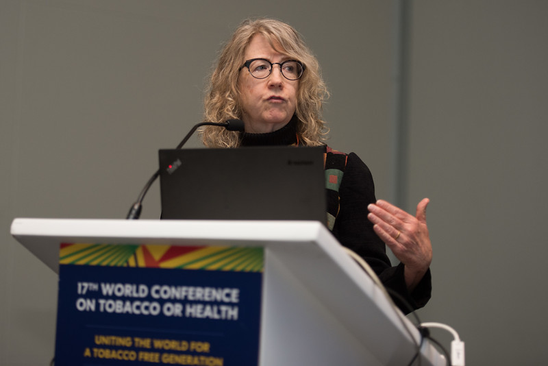 17th World Conference on Tobacco or Health (WCTOH), Cape Town, South Africa, organised by the International Union Against Tuberculosis and Lung Disease.<br /> <br /> Photo shows: The new 'Foundation' for a Smoke-Free World: Strategic considerations for the global tobacco control movement. Ruth Malone, Chair. <br /> <br /> <br /> Photo©Marcus Rose/The Union