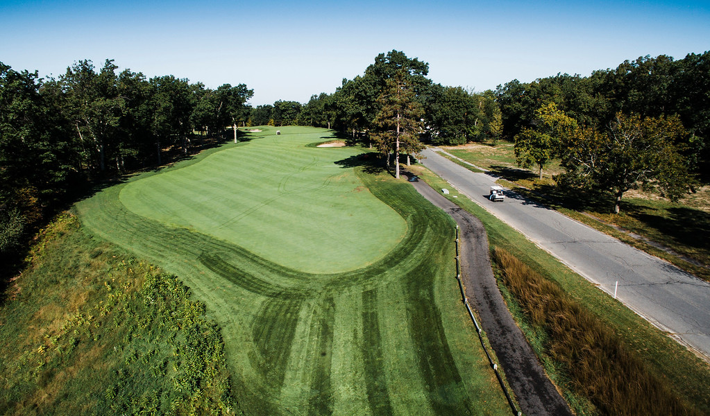 . Red Tail Golf Club �Hole 10 is a 560-yard, slight dogleg left par 5 with a bit of a forced carry off the tee and out of bounds down the right side of the fairway. The OB stretches from the tee for roughly 280 yards. After 280, the right side becomes an environmentally sensitive hazard, which restricts player entry and requires a ball drop. The left side is tree lined with an 80-yard long bunker catching many second shots.� -- Chris Kasheta, Red Tail Golf Club SENTINEL & ENTERPRISE / Ashley Green