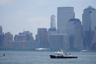There were many boats on the Hudson on this hot summer day, including this pizza-delivery vessel.