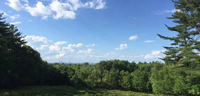 Milton, MA:  Blue Hills Resevation.   Chickatawbut Road Overlook.  Boston in the distance.  More great running (now walking) trails.  Spent many hours here back in the day.  Still looks the same.