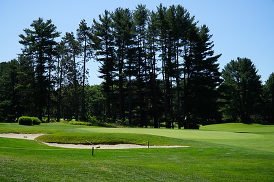 Needham Golf Club:  2nd green.  Nothing very tricky about this hole, it's just long.  That's my tee shot on the back edge.