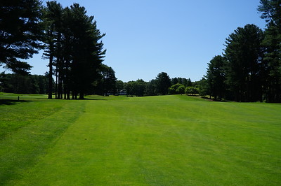 Needham Golf Club:  looking back up the 1st from in front of the green.  Gorgeous summer day.  75 degrees, not a cloud in the sky, 5 MPH breeze, humidity about 35%.  Perrrrfect.