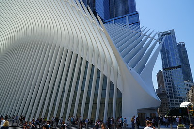 """The Oculus (the word means """"oval window"""") is a $4B transportation hub and shopping center.   One critic called it a """"kitsch stegosaurus,"""" though it was supposed to resemble a bird."""