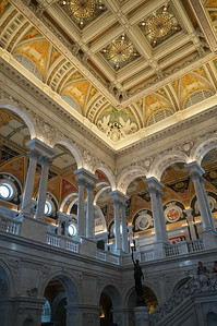 Library of Congress.  The lobby is lavishly, and beautifully, decorated.