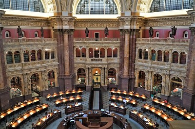 Library of Congress.  A library card is required to enter this research area.  This shot was taken from a glassed-in balcony.