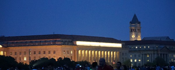 The U.S. Department of Commerce at twilight.
