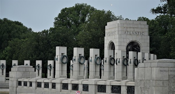 World War II Memorial, the North Pavilion, commemorating the War in the Atlantic, Europe and Africa.  The fountains in between the two pavilions were turned off  for the day.