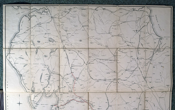 1846 (little) North Western Railway map, upper half. This half of the map covers an area bounded by Carlisle, Newcastle, Dalton and Thirsk.