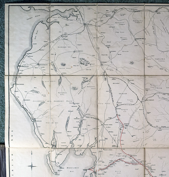 1846 (little) North Western Railway map: upper left.  Showing what is now Cumbria and the Pennines, including the little North Western Railway itself.