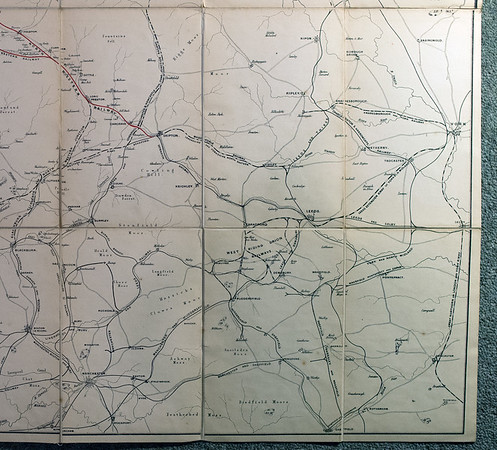 1846 (little) North Western Railway map: lower right.  Showing east Lancashire and west Yorkshire.