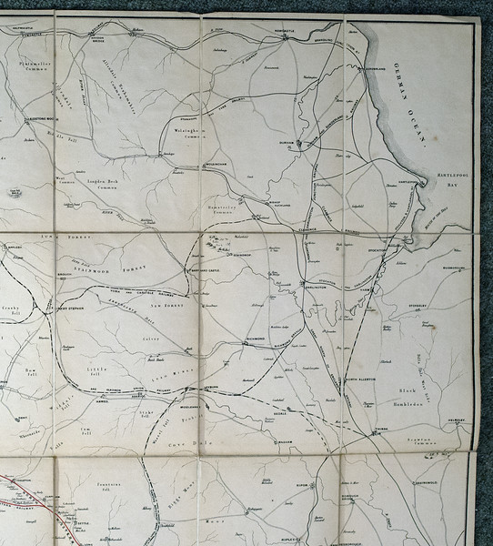 1846 (little) North Western Railway map: upper right.  Showing the Pennines, north Yorkshire and Durham.
