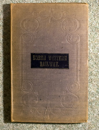 1846 (little) North Western Railway map: cover.  It measures 27 inches (width) by 28 inches (height), and is backed on linen.