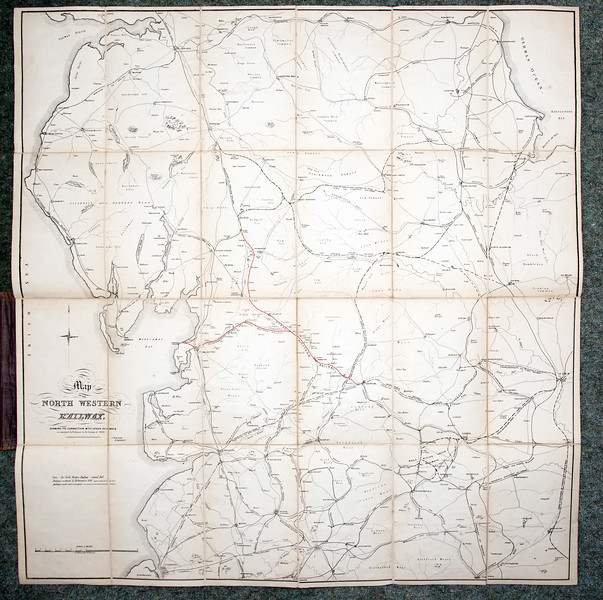 1846 (little) North Western Railway map.  It measures 27 inches (width) by 28 inches (height), and is backed on linen.