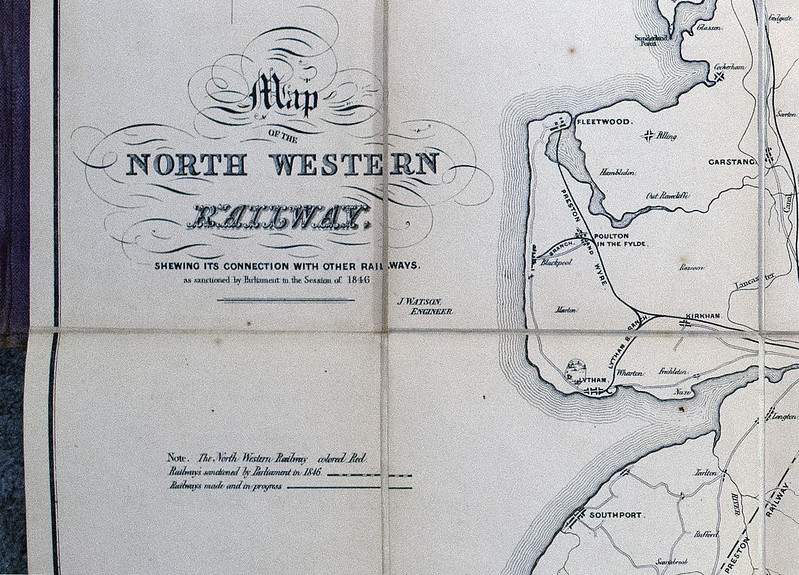 1846 (little) North Western Railway map: imprimatur.  The map covers the north of England.  It shows the NWR and its connections with other railways already made or in progress, or sanctioned by Parliament in 1846.  (Some of the latter lines were not built as shown, or at all.)  It was made by the NWR's engineer, John Watson.  The NWR was called the 'little' to distinguish it from the mighty London & North Western Railway, based at Euston and one of Britain's big four railways before the 1923 grouping.  (The others were the Great Western, Midland and North Eastern.)