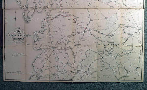 1846 (little) North Western Railway map: lower half.  This half of the map covers an area bounded by Dalton, Thirsk, Preston and Doncaster.