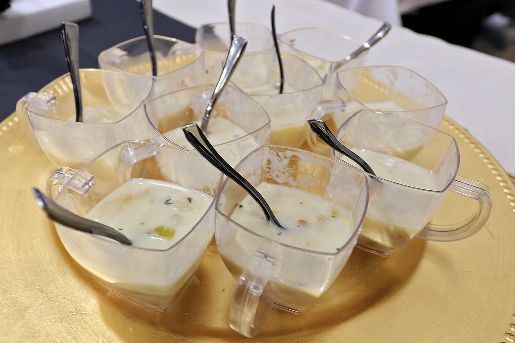 . The 18th Annual Taste of Nashoba, sponsored by the Nashoba Valley Chamber of Commerce, was held on Tuesday night at Lawrence Academy\'s Stone Athletic Center. Some clam chowder was made by Bridges by Epoch of Westford at the event. SENTINEL & ENTERPRISE/JOHN LOVE