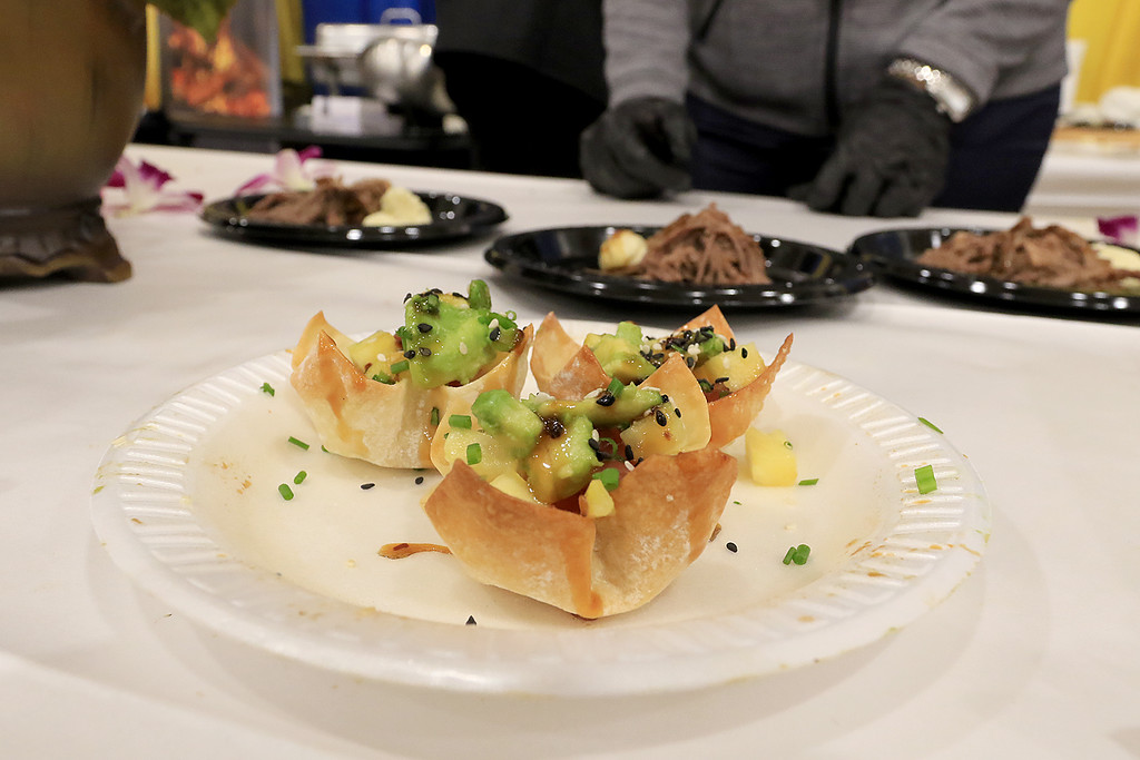 . The 18th Annual Taste of Nashoba, sponsored by the Nashoba Valley Chamber of Commerce, was held on Tuesday night at Lawrence Academy\'s Stone Athletic Center. The Devens grill was serving up this Asian tuna in a poke wonton at the event. SENTINEL & ENTERPRISE/JOHN LOVE