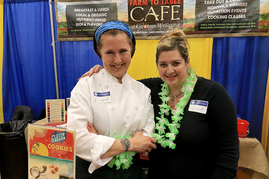 . The 18th Annual Taste of Nashoba, sponsored by the Nashoba Valley Chamber of Commerce, was held on Tuesday night at Lawrence Academy\'s Stone Athletic Center. Manning the Groton wellness table at the event is Arwyn Lennon and Amy Ashman. SENTINEL & ENTERPRISE/JOHN LOVE