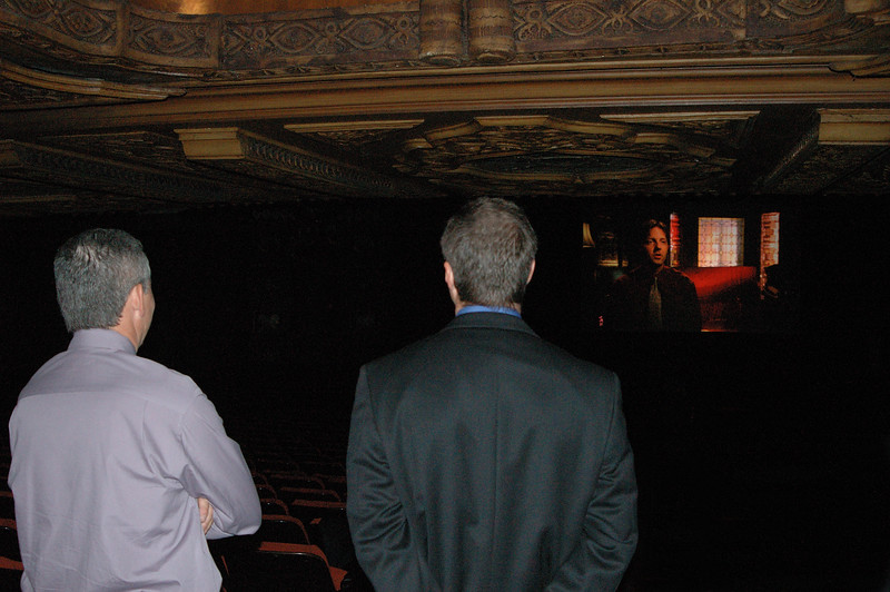 Doug and Scott check the test screening at the Fabulous Fox from the back of the theatre before the crowd enters the auditorium.