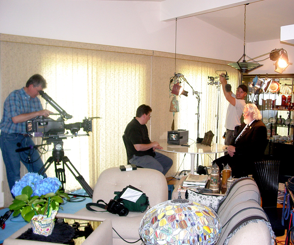 Recording an interview with Max Storm on location for The World's Greatest Fair.