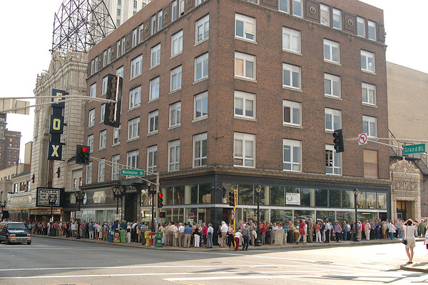 Crowds line-up around the block for a glimpse at the world premiere of The World's Greatest Fair.