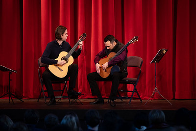Guitar Duo Henderson-Kolk perform during Morning Meeting